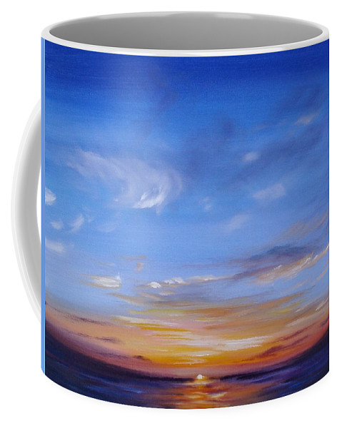 Tropical Sunset Coffee Mug featuring the painting Sunset In Paradise by Donna Tuten