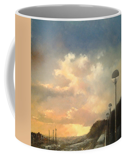Sunset Coffee Mug featuring the painting Sunset in the water park by Tomas Castano