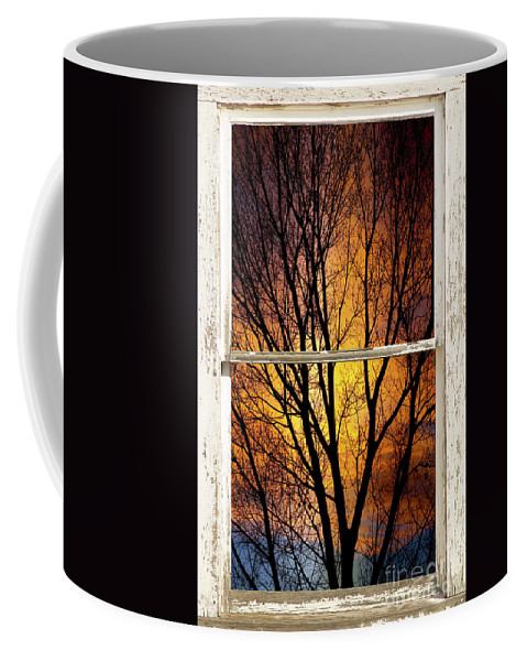 Window Coffee Mug featuring the photograph Sunset Into The Night Window View 3 by James BO Insogna