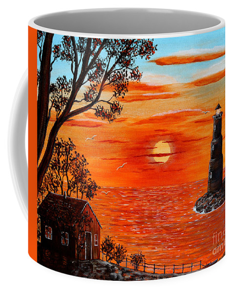 Sunset Lighthouse Coffee Mug featuring the painting Sunset Lighthouse by Barbara Griffin