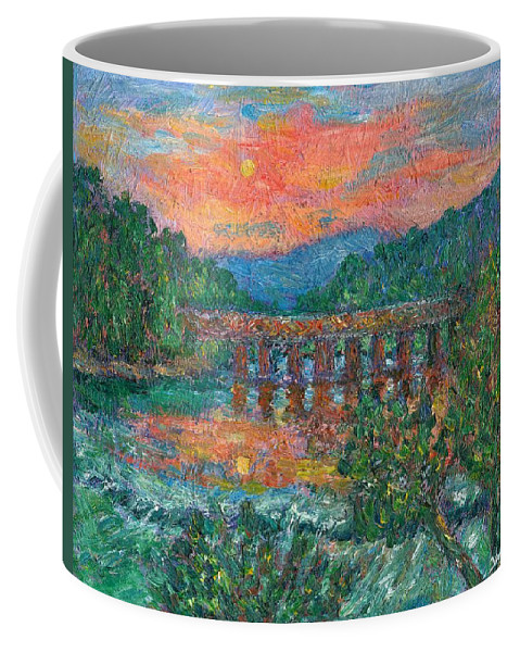 Kendall Kessler Coffee Mug featuring the painting Sunset On The New River by Kendall Kessler