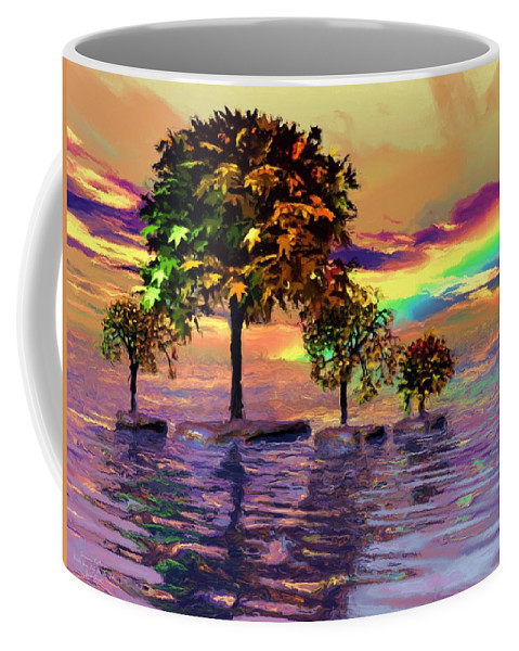 Trees Coffee Mug featuring the painting Sunset On Trees And Ocean by Susanna Katherine