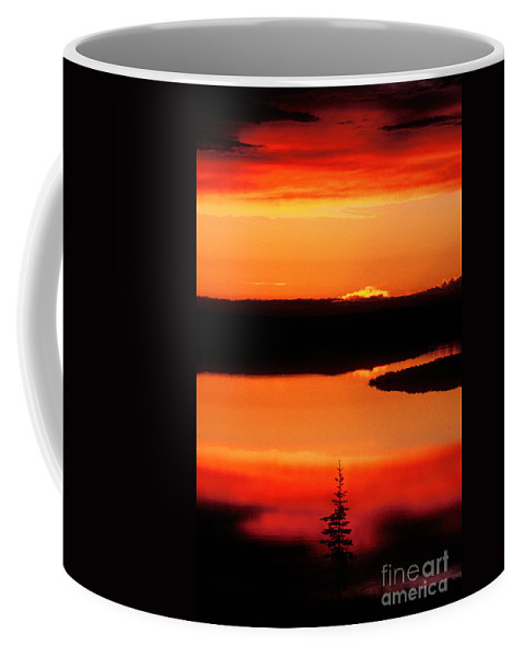 Canada Landscape Coffee Mug featuring the photograph Sunset On Whitefish Lake Norhwest Territories Canada by Dave Welling