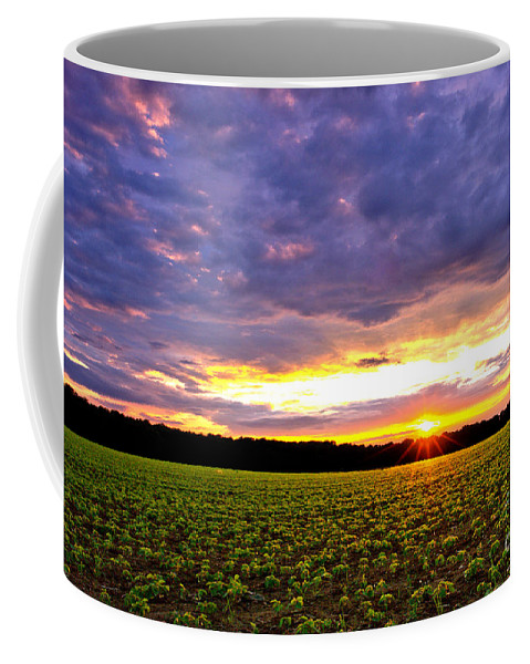 Sunset Coffee Mug featuring the photograph Sunset Over Farmland by Olivier Le Queinec