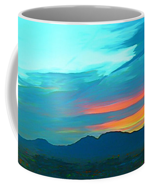 Sunset Over Las Vegas Hills Coffee Mug featuring the painting Sunset Over Las Vegas Hills by John Malone