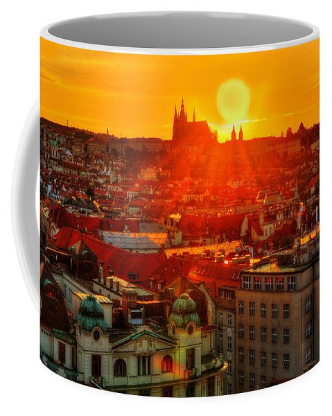 Prague Coffee Mug featuring the photograph Sunset Over Prague by Midori Chan