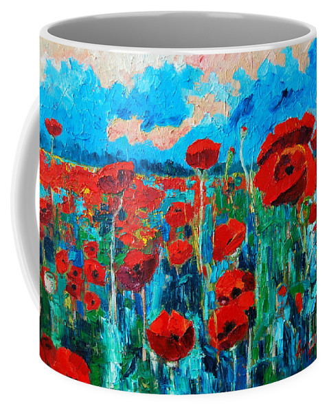 Floral Coffee Mug featuring the painting Sunset Poppies by Ana Maria Edulescu