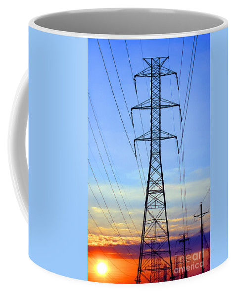 Electric Coffee Mug featuring the photograph Sunset Power Lines by Olivier Le Queinec