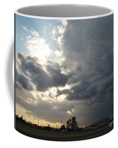 Sunset Runway Coffee Mug featuring the photograph Sunset runway by De La Rosa Concert Photography