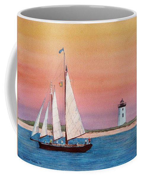 Sailboat Coffee Mug featuring the painting Sunset Sail by Sharon Farber