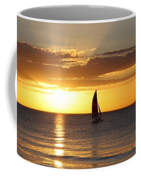 Sailing Coffee Mug featuring the photograph Sunset Sailing by Christiane Schulze Art And Photography