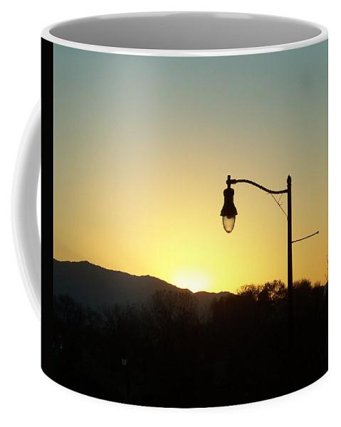 Sunset Coffee Mug featuring the photograph Sunset Street Light by Jennifer Allen
