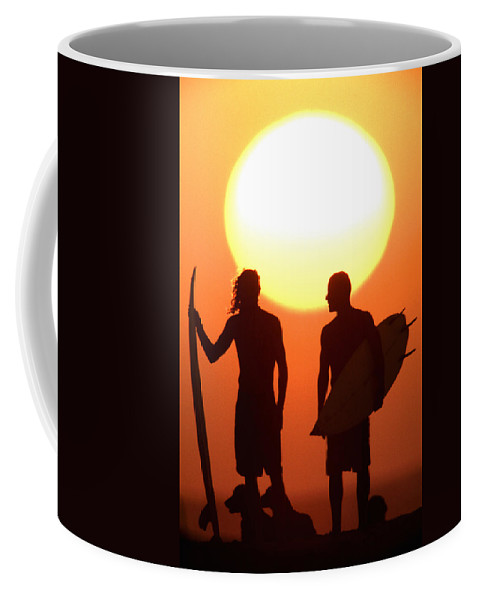 Surf Lifestyle Coffee Mug featuring the photograph Sunset Surfers by Sean Davey