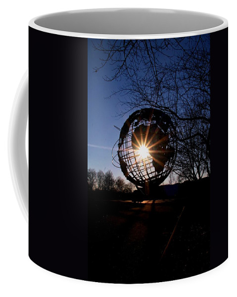 Unisphere Coffee Mug featuring the photograph Sunset Through The Unisphere by Karen Silvestri