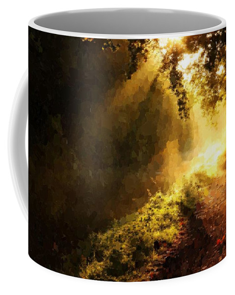 Forest Coffee Mug featuring the painting Sunshine by Samuel Majcen