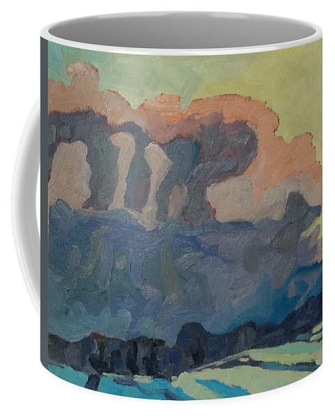 Snow Coffee Mug featuring the painting Sunup On A Snowsquall by Phil Chadwick