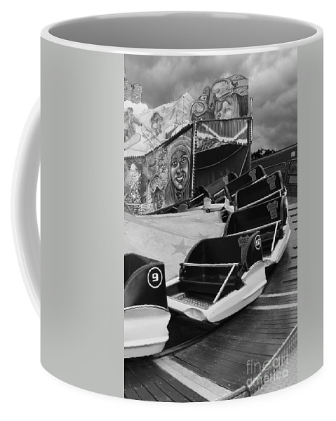 Monochrome Coffee Mug featuring the photograph Super Bob At The Funfair by Terri Waters