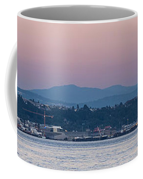 Full Moon Coffee Mug featuring the photograph Super Moon And Sailing Panorama by Scott Campbell