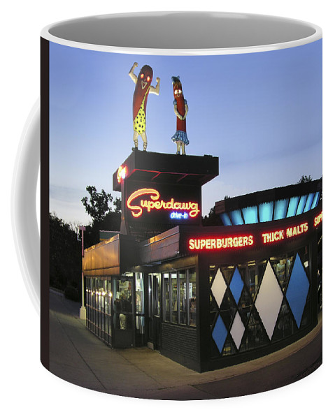Chicago Hot Dog Stand Coffee Mug featuring the photograph Superdawg by Dean Pratali
