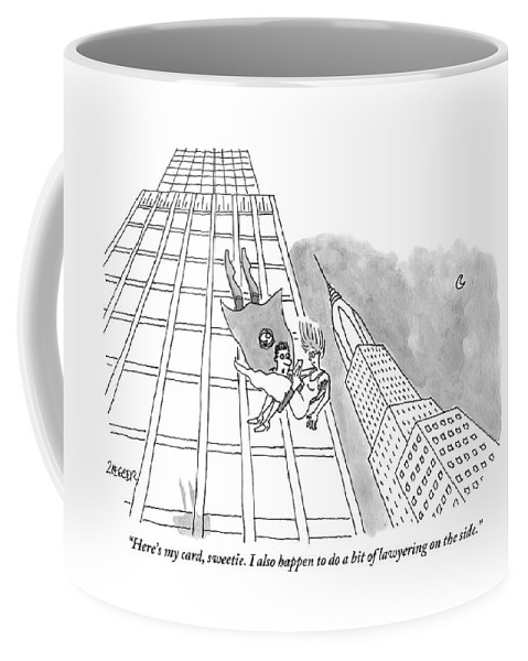 Superhero Coffee Mug featuring the drawing Superman Gives His Card To A Woman He Is Saving by Jack Ziegler
