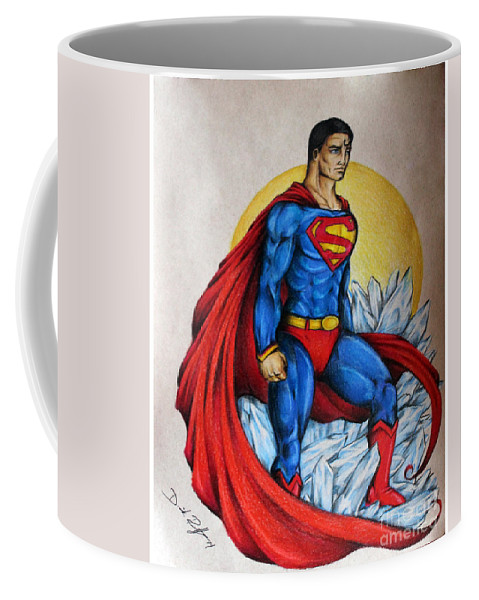 Art Coffee Mug featuring the drawing Superman Lives On by Derrick Bruno-Rathgeber