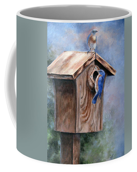 Bluebirds Coffee Mug featuring the painting Supervised Feeding by Mary McCullah