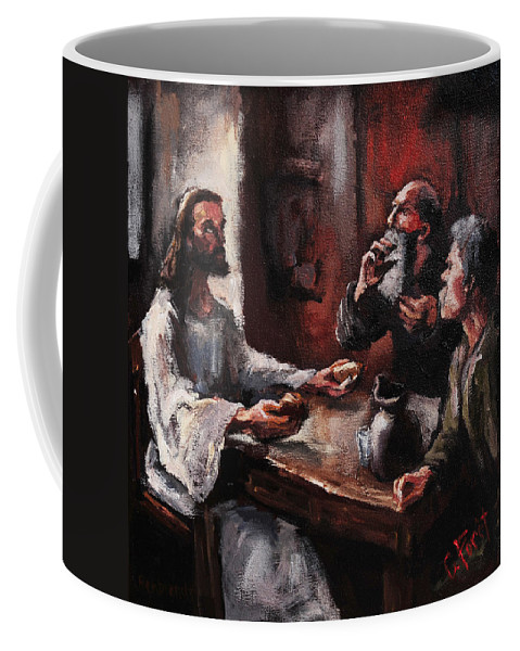 Jesus Coffee Mug featuring the painting Supper At Emmaus by Carole Foret