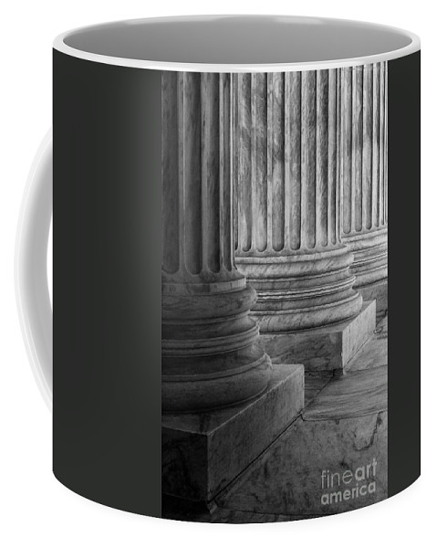 Architect Of The Capitol Coffee Mug featuring the photograph Supreme Court Columns Black And White by Jerry Fornarotto
