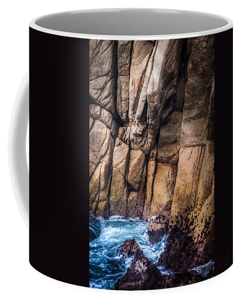 Copyrighted Coffee Mug featuring the photograph Surf And Cliff by Mike Penney