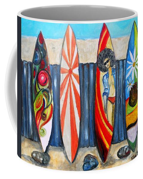 Huntington Coffee Mug featuring the painting Surfboards by Pristine Cartera Turkus