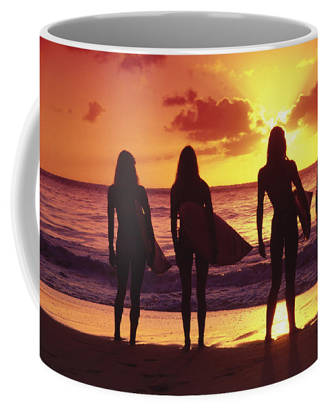Surfer Coffee Mug featuring the photograph Surfer Girl Silhouettes by Sean Davey