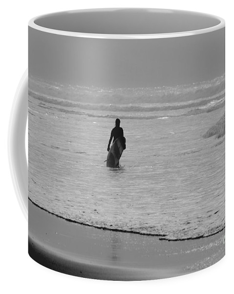 Surfer Coffee Mug featuring the photograph Surfer In The Mist by Terri Waters
