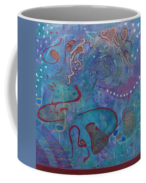 Abstract Paintings Coffee Mug featuring the painting Surprise by Nili Tochner