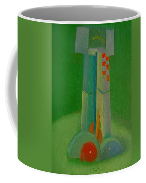 Cubist View Of Figure Coffee Mug featuring the painting Survivors by Charles Stuart