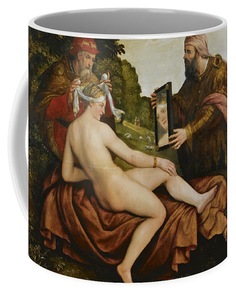 Follower Of Lambert Sustris Coffee Mug featuring the painting Susanna And The Elders by Follower of Lambert Sustris