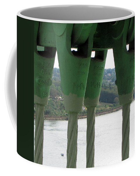 Tacoma Narrows Bridge Coffee Mug featuring the photograph Suspension Cables by Tikvah's Hope
