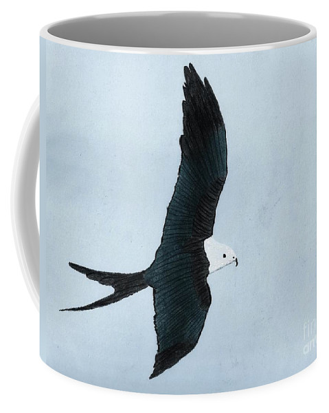 Bird Coffee Mug featuring the drawing Swallow Tailed Kite by D Hackett