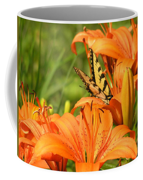 Tiger Lillies Coffee Mug featuring the photograph Bright Summer Flowers by Marisa Horn