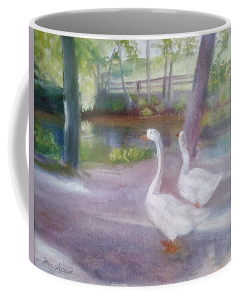 Swans Coffee Mug featuring the painting Swans At Smithville Park by Sheila Mashaw