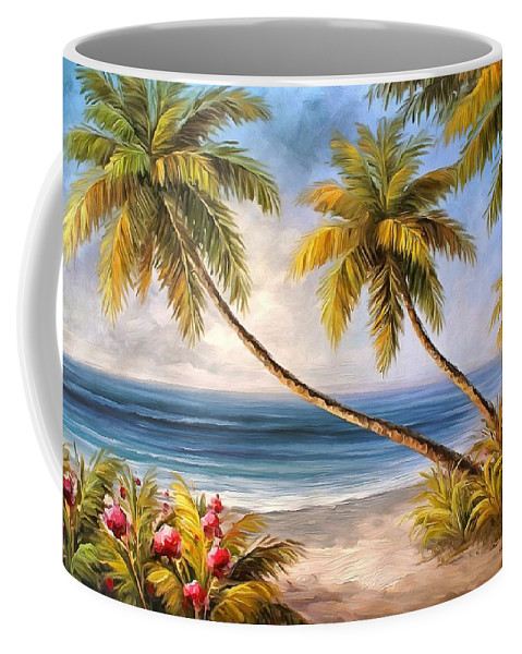 Swaying Palms Coffee Mug featuring the painting Swaying Palms by Studio Artist
