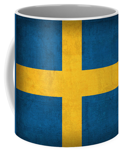 Sweden Flag Vintage Distressed Finish Coffee Mug featuring the mixed media Sweden Flag Vintage Distressed Finish by Design Turnpike