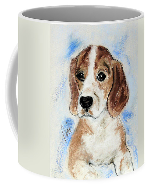 Dog Coffee Mug featuring the drawing Sweet Innocence by Cori Solomon