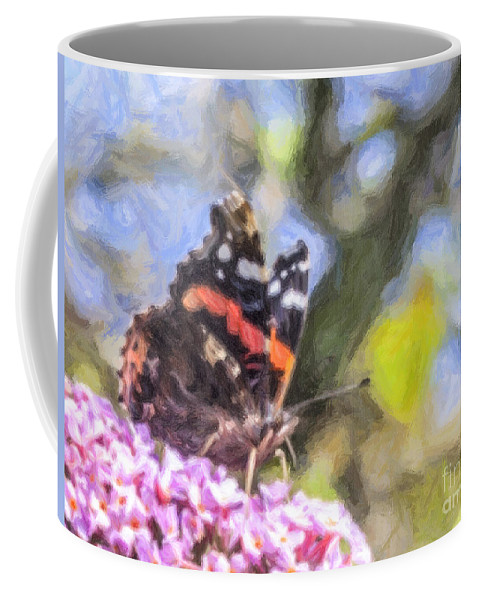 Vanessa Atalanta Coffee Mug featuring the digital art Sweet Nectar by Liz Leyden