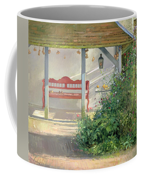 Sweetpea Coffee Mug featuring the photograph Sweet Peas And Autumn Harvest Oil On Canvas by Timothy Easton
