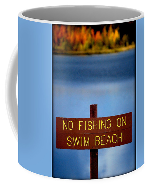 Lake Coffee Mug featuring the photograph Swim Beach Sign by Kathy Sampson