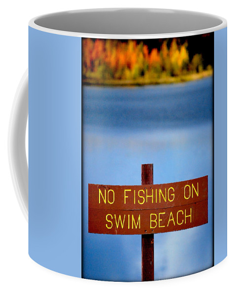 Lake Coffee Mug featuring the photograph Swim Beach Sign L by Kathy Sampson