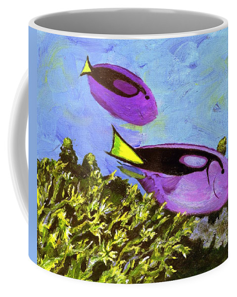 Tropical Coffee Mug featuring the painting Swimmingly by Jamie Frier