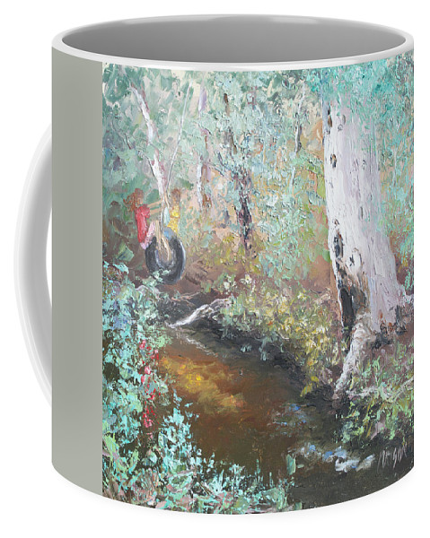 Landscape Coffee Mug featuring the painting Swinging On The Old Tyre by Jan Matson