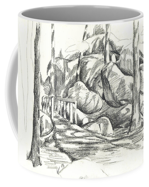 Swirling Cast Shadows At Elephant Rocks No Ctc101 Coffee Mug featuring the drawing Swirling Cast Shadows At Elephant Rocks No Ctc101 by Kip DeVore