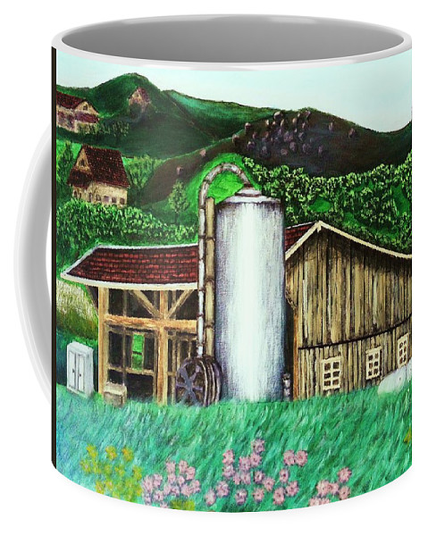 Farm Coffee Mug featuring the painting Swiss Granary by Irving Starr